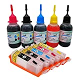 F-INK Refillable Ink Cartridge and 5x50ml Ink Refill Kits Compatible for Canon PGI-270XL CLI-271XL,Work with PIXMA MG5720 MG5721 MG5722 MG6820 MG6821 MG6822 MG7720 TS9020 TS8020 TS6020 TS5020