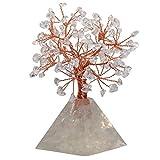 mookaitedecor Árbol de cristal curativo con base pirámide, envuelto con alambre de cobre Feng Shui, bonsái, árbol de dinero para la suerte y la riqueza