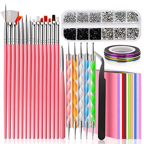Nail Design Kit for Acrylic Nails with Nail Art Brushes, Dotting Tool, Nail Tape Strips, Nail Foil...
