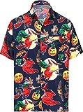 HAPPY BAY Men's 3D HD Halloween Pumpkins Witch Dress Short Sleeve Hawaiian Shirt XL Navy Blue_AA242