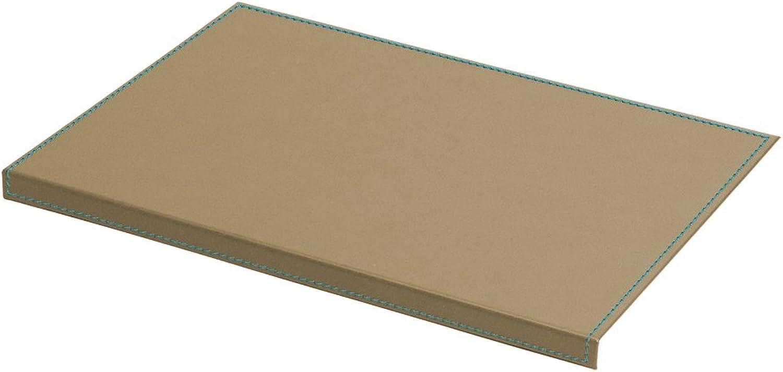 Eglooh - Calliope Deluxe - Schreibunterlage aus Leder mit hellblauen Nähten, Gleitschutz mit Aufbau aus Stahl - Taubengrau - 70x50 - Made in  B075JFXZZ8   Ausgezeichnete Leistung