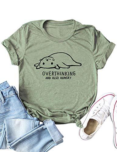 Dresswel Damen Overthinking and Also Hungry T-Shirt Katze Shirt Cat Tops Sommer Oberteile Kurzarm Rundhals Hemd Bluse