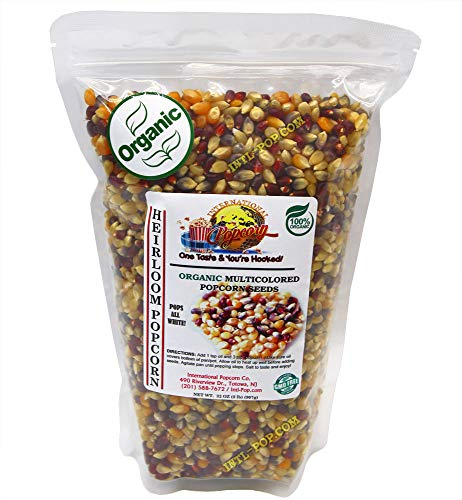 2 lb - ORGANIC, Heirloom Multi-colored Popcorn Kernels - Low Calorie High Fiber Snack Perfect Movie Night - All Natural, Vegan, Non GMO, Gluten Free, KOSHER