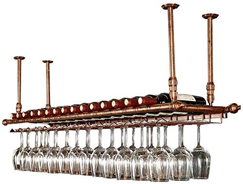 Yaad Bar Theke Schwimmenden Regal Wandregal Lagerregal, Weinflaschenregal, Decke Weinregal, Verstellbare Decke Lagerregal, Multifunktionale Regallager,Bronze,60 * 30cm