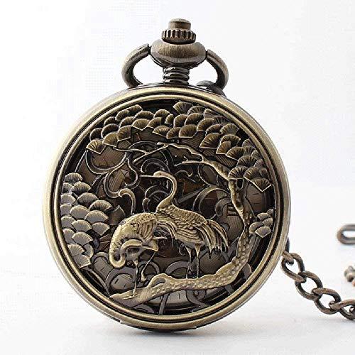 Reloj retro bolsillo Movimiento de cuarzo volteado en reloj de bolsillo reloj de bolsillo para hombres - con cadena regalo de cumpleaños,Copper