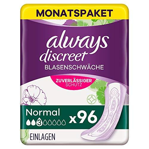 Always Discreet Inkontinenz-Einlagen Normal Monatspaket bei Blasenschwäche, 96 Einlagen (4 Packungen x 24 Stück)