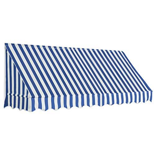 Tidyard Toldo para Bar Toldo Terraza Toldos Impermeables Exterior de Tela con Revestimiento de Pa Azul y Blanco 250 x 120 cm