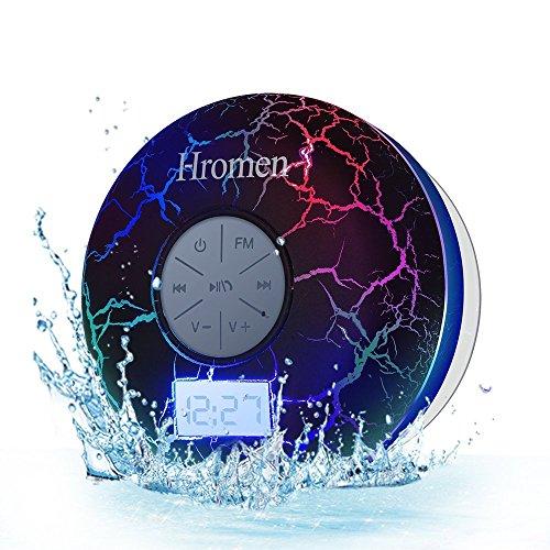 Hromen Bluetooth Speaker,2nd Gen IPX7 Waterproof Bluetooth Speakers, Bathroom Shower Speaker with FM Radio,Wireless Cool Cracking Backlit, Suction Cup,Outdoor Speaker, Good Gift