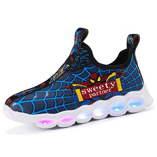 WEIR Zapatillas para niños Spiderman LED Luminous Lightweight Running Shoes Niños Niñas Zapatos Deportivos,Blue-31EU