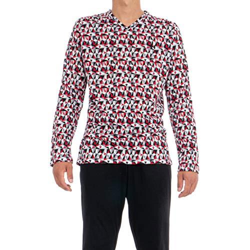 HOM Herren Tiles Long Sleepwear Zweiteiliger Schlafanzug, Rot (Haut: Imprimé Géométrique Rouge, Gris, Noir, Blanc. Bas: Noir 00pa), Medium