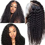 Jaja Hair Human Hair Lace Front Wigs 150% Density Brazilian Kinky Curly Wave Human Hair for Black Women Pre Plucked Hairline with Baby Hair and Adjustable Straps Natural Color 24 Inch
