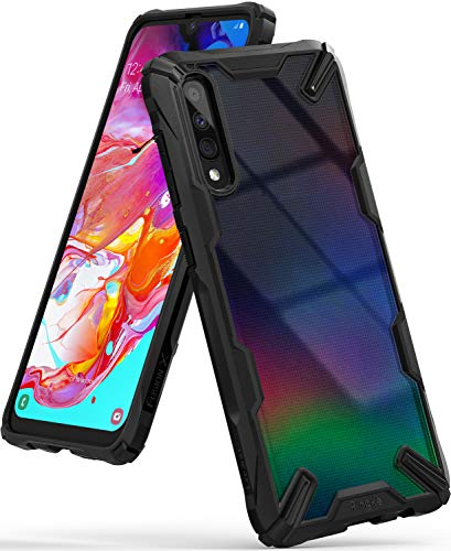 Ringke Fusion-X Diseñado para Funda Samsung Galaxy A70, Transparente al Dorso Funda, Protección Resistente Impactos TPU + PC Carcasa Galaxy A70 (6.7') - Black