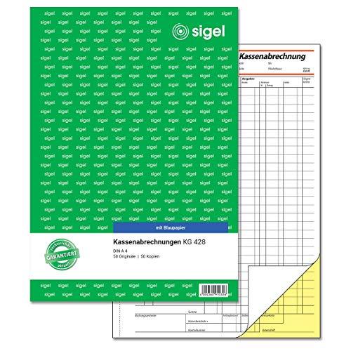SIGEL KG428 Kassenabrechnung A4, 2x50 Blatt