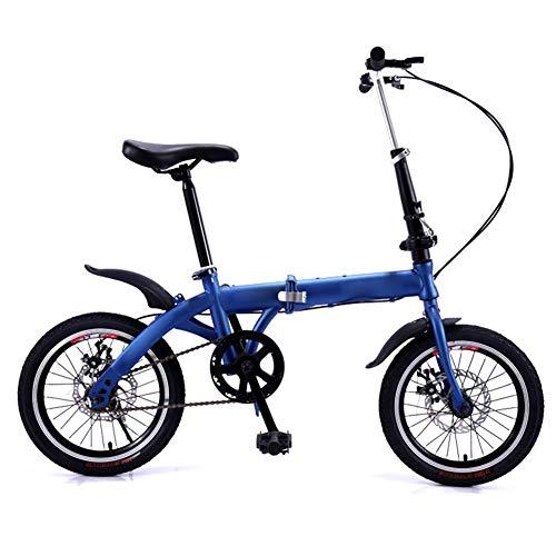 QETU Falträder, 16-Zoll-Räder, Single-Speed-Doppelscheibenbremse Faltbares Fahrrad, Studentenrad Für Männer Und Frauen Für Erwachsene