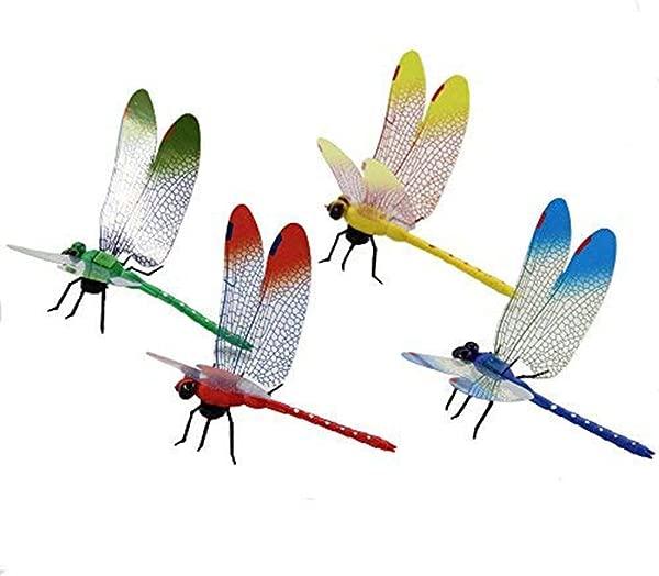 Pertty 4Pcs 3D 效果创意塑料仿真蜻蜓磁贴 5 5 耐用墙壁装饰贴纸冰箱客厅家居背景墙 4