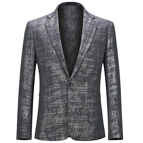 Mens Suit Blazer Casual Notch Lapel 1 Button Slim Fit Stylish Sport Coat, Gray, Large