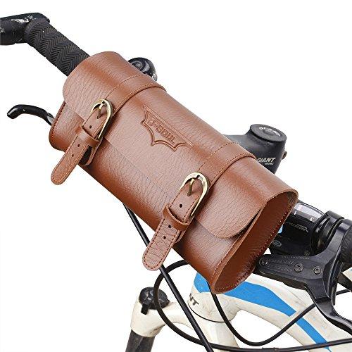 Huangjiahao Fietstas Lederen Fietstas/Mountainbike Stuurtas, Retro Fashion Uitbreidingstas kan worden gebruikt als rugzak Geschikt voor buitenrijden