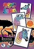MAMMUT 8301607 - Sequin Art Safari Paillettenbild, Steckbild, Dreierpack, Bastelset mit Styropor-Rahmen, samtigen Bildvorlagen, Pailletten, Steckstiften, Anleitung, ab 8 Jahre -