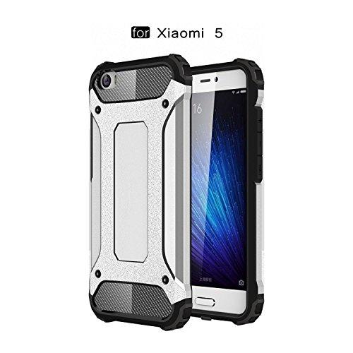 Ycloud Etui Schutzhülle für Xiaomi Mi5 Dual Layer 2 in 1 Eisenrüstung Heavy Duty Hybrid Rüstung PC + TPU Kombination Silber Tasche für Xiaomi Mi5