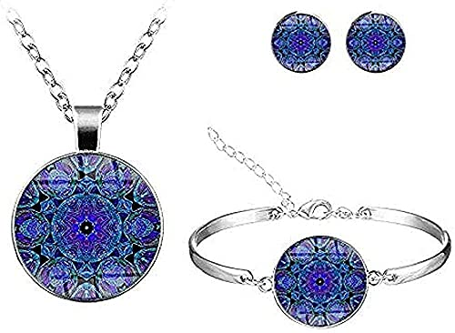 Yiffshunl Collar Collar clásico Mandala Conjuntos de Flores Multicolores Joyas Hechas a Mano Collar con patrón de Vidrio Redondo Pulsera Pendientes Conjuntos Collar de joyería