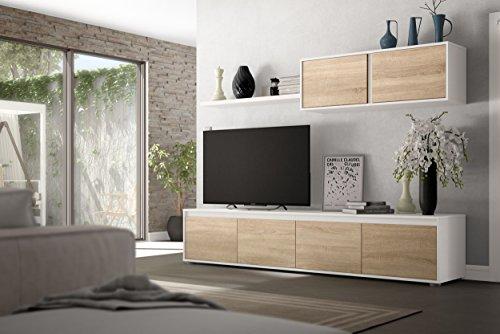 Dmora Mobile da Soggiorno Porta TV a Quattro Ante, con modulo pensile e mensola, Colore Canadian artik, cm 200 x 43 x 41, Rovere e Bianco