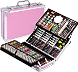 173 pcs Deluxe Art Set, Aluminum Painting Box Artist's Set, with Oil Pastels, Colored Pencil, Acrylic, Watercolor Paints, for Sketching, Oil,Watercolor.Christmas/Birthday Gift for Kids Artists (Pink)