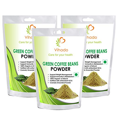 Vihado Organic Green Coffee beans Powder for weight loss – 200g (Pack of 3)