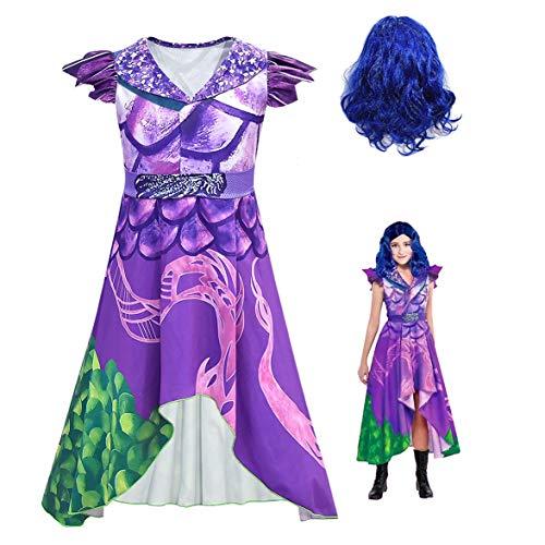 Disfraz de Descendants 3 para niña: Mal | Audrey | Disfraces UMA Deluxe Dress Up Onesies Kids Evie Halloween Cosplay Outfits