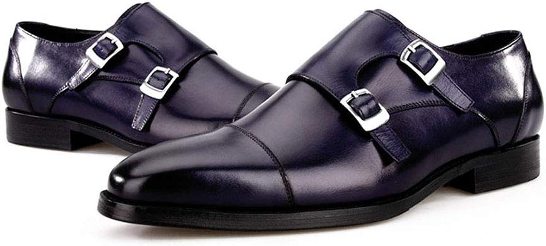 LYY.YY Mnner Mode Schnalle Business-Schuhe Rutschfest Verschleifest Meng Ke Quadratischer Kopf Lederschuhe Alltagskleidung Büro Schuhe