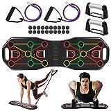 AIMTOP Faltbare Liegestützgriffe, 9 in 1 Push Up Board Multifunktionale Liegestütze Brett mit Widerstandsband Fitness Geräte, Fitnesstraining für zu Hause, Sportgerät, Muskelaufbau, Bodybuilding