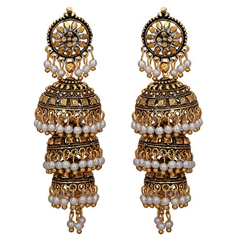 Jwellmart Bollywood Traditional Ethnic Pearl Jhumka Jhumki Indian Earrings for Women and Girls (Style1)