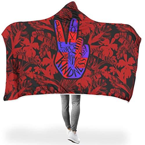 Ainiteey Peace knuffelig verschillende patronen capuchondeken dat mensen goed slapen voor bed in de winter zonneschijn stijl Peace