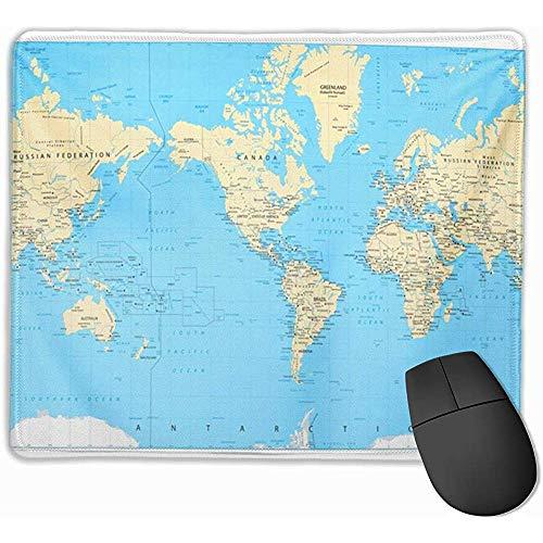 Cute Gaming Mouse Pad, Mouse Mat Azul Asia América Centrado Mapa del Mundo Altamente detallado de Físico Amarillo Sur