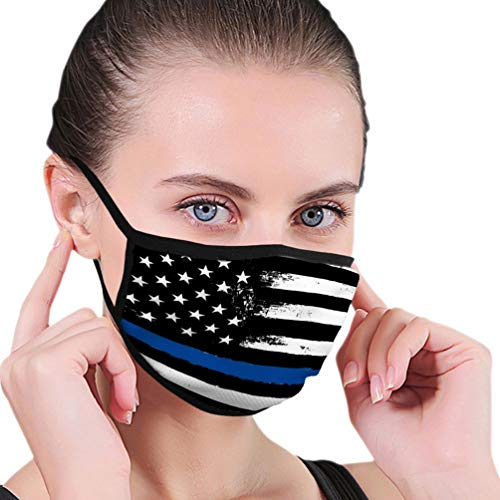 Mouth Cover Face Scraf Cover Thin Blue Line Black Flag with Police Closeup