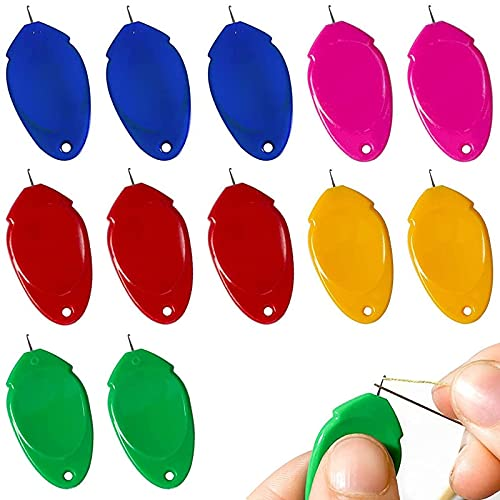 Needle Threaders TOOVREN 12 PCS Needle Threader Tool for Hand Sewing and Sewing Machine Simple Needle Threaders for EmbroiderY, Threaders for Sewing Needle Threader for Small Eyes Needle(Random Color)