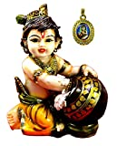 Amazing India Hand Carved Baby Krishna Resin Idol Sculpture Statue 6.5 Inches Multicolor with Krishna Pendant Free