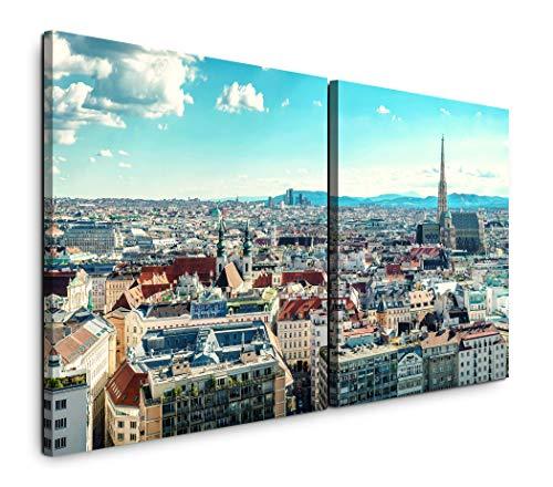 Paul Sinus Art GmbH Panorama Blick Österreich 120x60cm - 2 Wandbilder je 60x60cm Kunstdruck modern Wandbilder XXL Wanddekoration Design Wand Bild