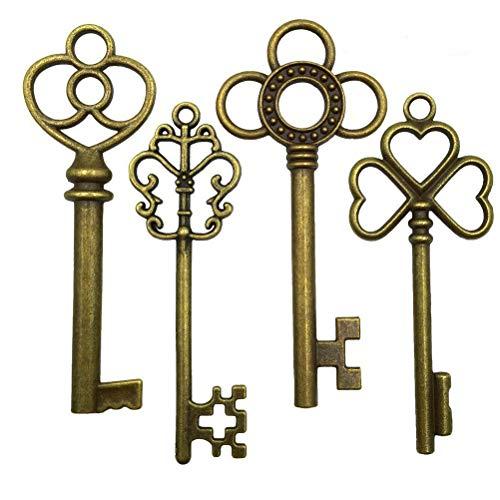 Antique Bronze Vintage Skeleton Keys Steampunk for Crafts, Party Favors, Gifts Decoration (Set of 40)