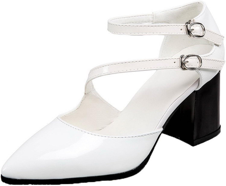 AllhqFashion Women's Buckle Closed Toe Solid Sandals