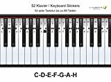 Lacerto® ? Autocollants pour tous les pianos ou débutants Clavier 37, 44, 49, 54, 61, 76, 88 touches | 52 autocollants pour système d'urgence allemand C-D-E-F-G-A-H | Fabriqué en Allemagne