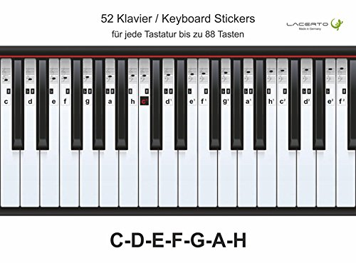 Lacerto® | Piano-, keyboard-, notensticker, C-D-E-F-G-A-H, 52 stickers