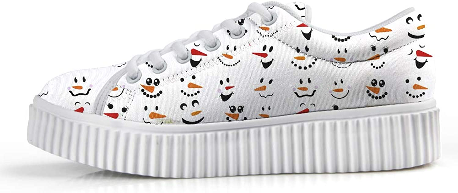 Owaheson Platform Lace up Sneaker Casual Chunky Walking shoes Low Top Women Winter Xmas Snowmen Happy Thought