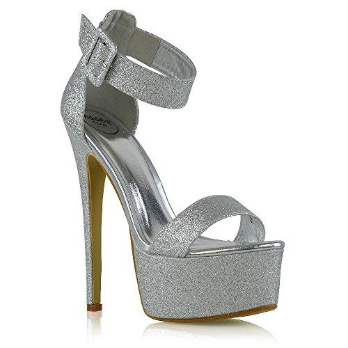ESSEX GLAM Donna Tacco Alto Le Signore Cinturino alla Caviglia Argento Glitter Piattaforma Fibbia Scarpe EU 37