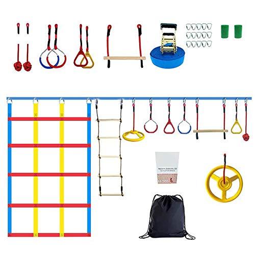 SEAAN- Ninja Warrior Obstacle Course per bambini,50FT Slack Line Kit-Ninja Warrior Attrezzature per l\'allenamento per bambini, arrampicata corda scaletta &rete cargo da arrampicata adatta all\'aperto