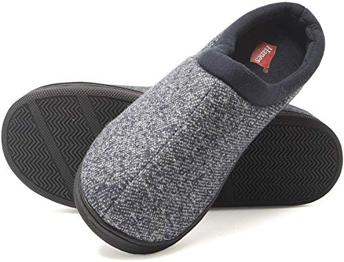 Hanes Boy's Slipper Clog House Shoe with Indoor Outdoor Memory Foam Sole Fresh IQ Odor Protection (Size Small,Navy)