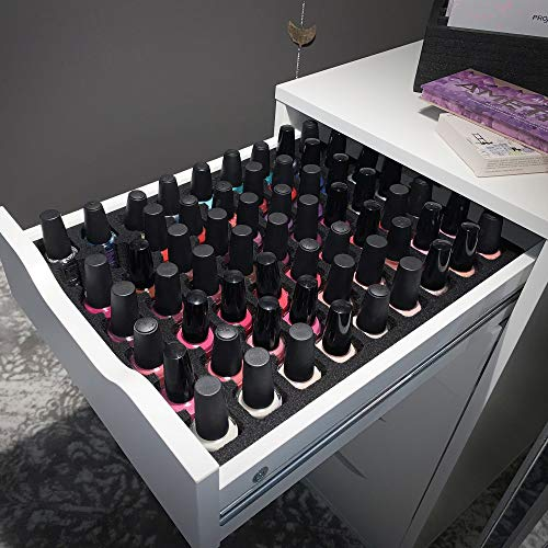 Polar Whale Nail Polish Drawer Organizer Compatible with IKEA Alex Tray Washable Waterproof Insert for Home Bathroom Bedroom Office 11.5 x 14.5 Inches 63 Compartments Black