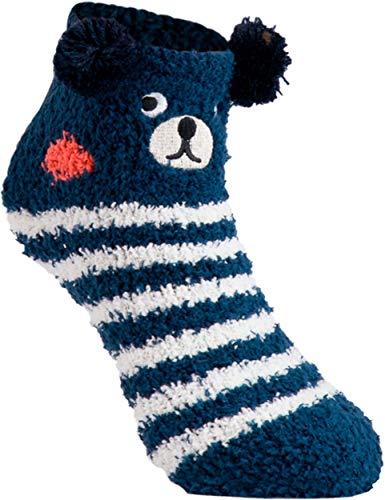 gigando   Cozy animal Christmas Socks for Kids   lustige, gemütliche Kuschelsocken für Jungen und Mädchen   hochwertige Socken für Kinder mit lustigen Gesichtern   1 Paar   Bär blau   31-34  