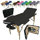 Vivezen - Table de massage pliante 3 zones en bois avec panneau reiki...