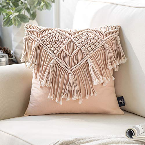Phantoscope 100% Cotton Handmade Crochet Woven Boho Throw Pillow Farmhouse Pillow Insert Included Decorative Cushion for Couch Sofa Pink 18 x 18 inches