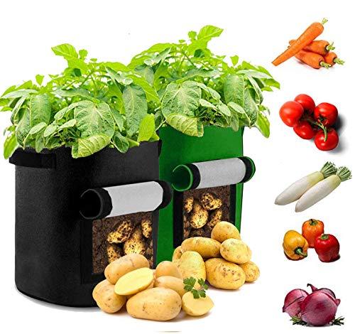 Sinicyder 2 Pack Pflanzen Tasche, Kartoffel Pflanzsack Tasche, Dauerhaft Atmungsaktiv Beutel Gemüse wachsen Pflanztasche mit Fenster/Klettverschluss/Tragegriffen, 38L/11Ga, (Grün & Schwarz)